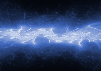 Blue lightning background, plasma and power concept