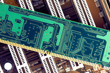 RAM Memory Stick On Motherboard Closeup
