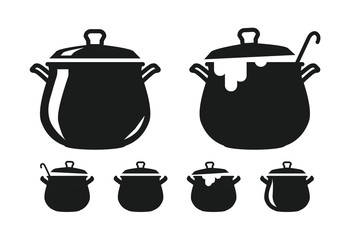 Pot with lid, pan of soup silhouette. Cooking, cuisine, cookery, culinary art, kitchen icon or logo. Vector illustration