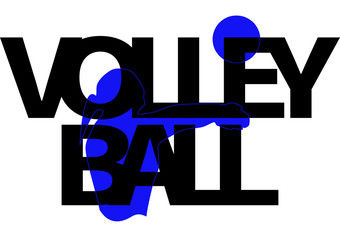Volleyball player girl with ball isolated logo