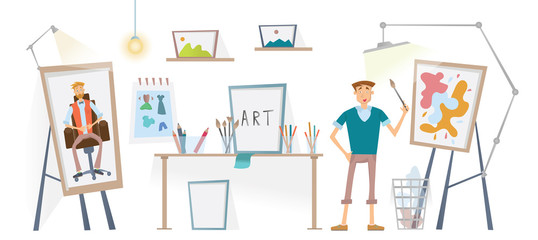 The artist working in his Studio. Young man with the brush standing at the easel. Vector illustration.