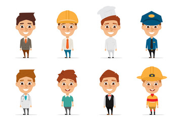 Collection of people character in occupation cartoon with illustration vector design. man working in job.
