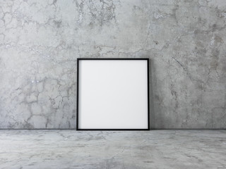 Square Canvas Poster with Black Frame Mockup standing on concrete floor. 3d rendering