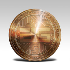 copper digixDAO coin isolated on white background 3d rendering