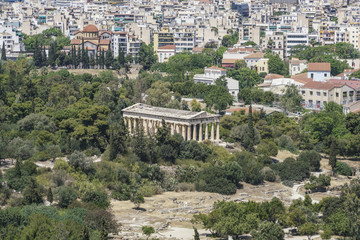 Panorama of Athens with view of the Agora and the Temple of Hermes in Ancient Agora in Greece.