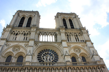 Notre Dame de Paris, medieval catholic cathedral on Cite in Paris, France.  French gothic architecture historical building, one of the most famous church building in the world.