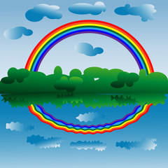 Poster Regenboog A bright rainbow of seven colors above the forest and water, a rainbow and clouds are reflected in the water. Landscape, landscape, reflection