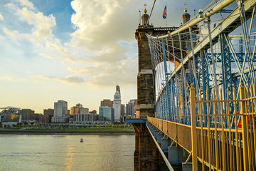John A. Roebling Suspension Bridge during sunset