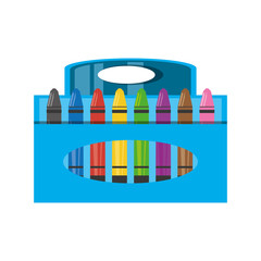 Crayons in box icon vector illustration graphic design