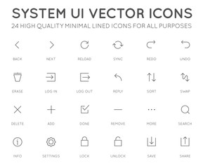 System User Interface (UI) Vector Icon Set. High Quality Minimal Lined Icons for All Purposes.