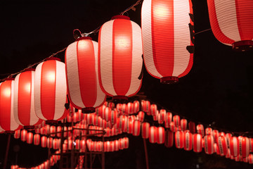 Japanese summer festival lanterns at night 夏祭りの提灯