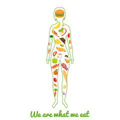 We are what we eat. Silhouette of girl with meal. Vector illustration.