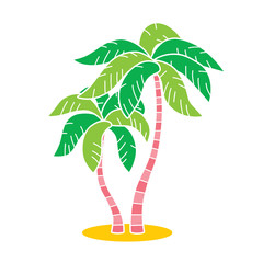 Two palm trees icon isolated. Tropical resort symbol.