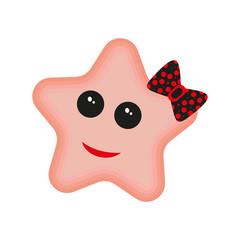 Cute happy starfish cartoon character Sea animal vector illustration Invertebrate animal sea fauna Star shape vector illustration