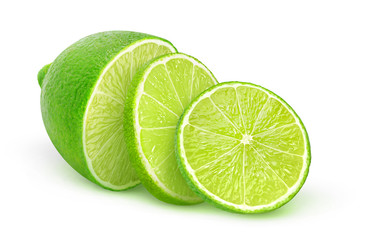 Isolated lime. Half of lime fruit and two slices isolated on white background with clipping path