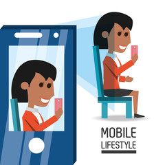 woman with smartphone in the hand taking of selfie picture vector illustration