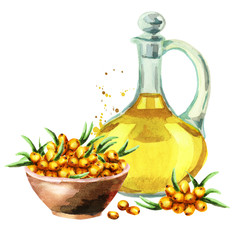 Sea buckthorn and oil. Watercolor illustration