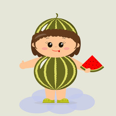 Baby in a watermelon costume in a cartoon style.