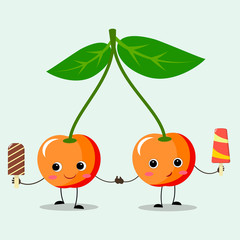 Two yellow cherries with ice cream in hands, in cartoon power.