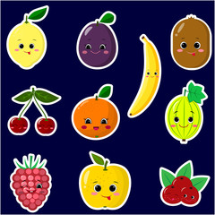 Icons stickers of different fruit smiles with a white outline, collected in a set on a dark background.