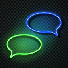 Vector realistic isolated neon retro speech bubbles on the transparent background for decoration and covering. Concept of message and network.