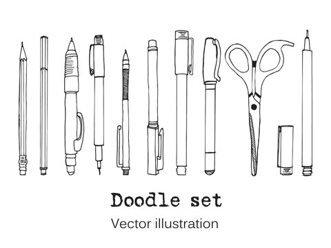 Isolated set of stationery hand drawn in cartoon style. Sketch of writing items. Doodle writing supplies, pen, pencil, scissors Cool design elements for infographic, web design, background. School