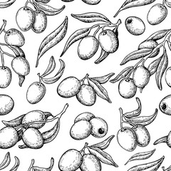 Olive seamless pattern. Hand drawn vector background with branch of olive tree. Isolated drawing on white background. Engraved plant.