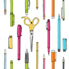 SEAMLESS PATTERN of hand drawn stationery in cartoon style. Sketch of writing items. Doodle writing supplies, pen, pencil, scissors. Cool elemements for infographic, web design, background. School