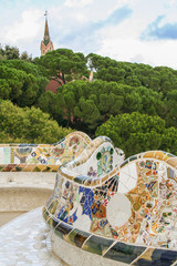 wavy bench of parc guell's terrace