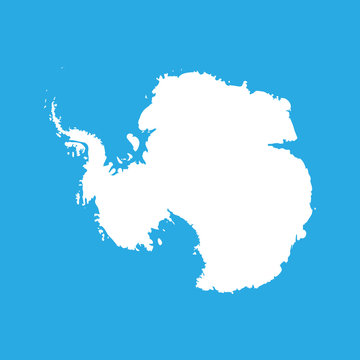 Silhouette map af Antarctica. High detailed white vector illustration isolated on blue background.