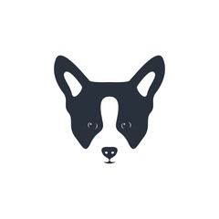 Silhouette dog head icon. Dog face simple design. Vector illustration.