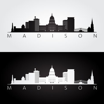 Madison USA skyline and landmarks silhouette, black and white design, vector illustration.