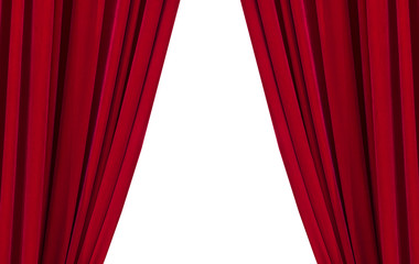 Large picture of a red curtains isolated on white background