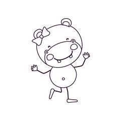 sketch contour caricature of cute expression female hippo in dance pose with bow lace vector illustration
