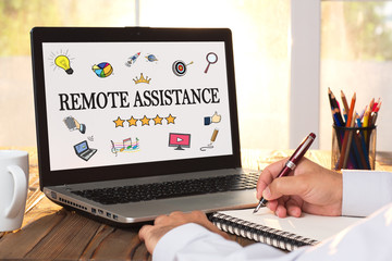 Remote Assistance Concept On Laptop Monitor