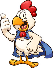 Cartoon super chicken with cape. Vector clip art illustration with simple gradients. All in a single layer.
