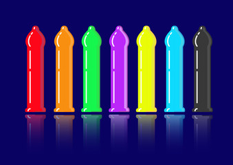set colored condoms vector isolated or black background