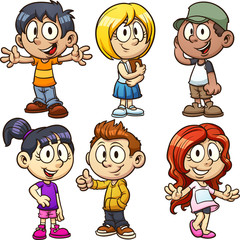 Happy cartoon kids. Vector clip art illustration with simple gradients. Each on a separate layer.