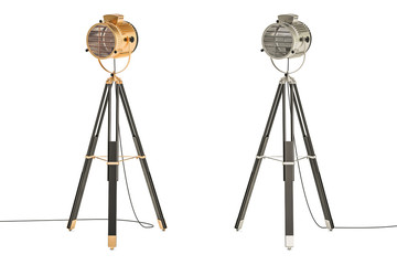 set of retro spotlights on tripods, 3D rendering