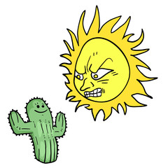 angry sun and cactus draw