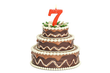 Chocolate Birthday cake with candle number 7, 3D rendering
