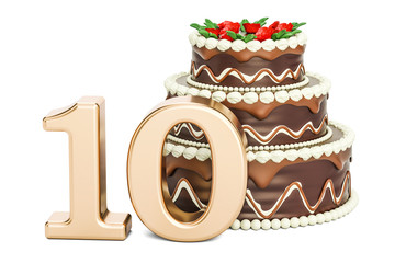 Chocolate Birthday cake with golden number 10, 3D rendering