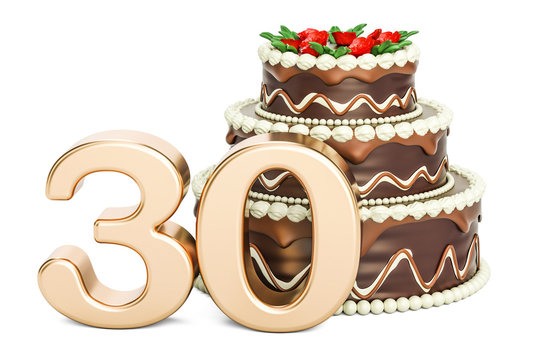 Chocolate Birthday cake with golden number 30, 3D rendering