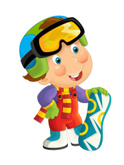 Cartoon snowboarder - boy standing and smiling and watching / isolated illustration for children