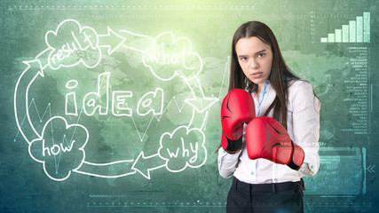 Creative ideas concept, boxing businesswoman standing on fight pose on painted background near idea organizational chart