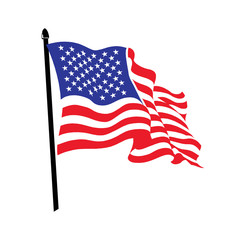Waving American flag logo design.