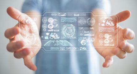Businessman using digital screens with holograms datas 3D rendering