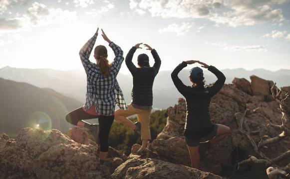 Girls Yoga Mountain Sunset