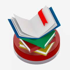 open book with bookmark on a stack of books 3D illustration