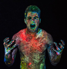 Colorful man screaming in anger